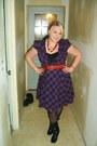 Tramp-dress-thrifted-belt-merona-tights-j-crew-blazer