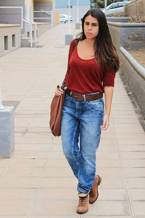 tawny Zara bag - brown Madrid boots - sky blue pull&bear jeans