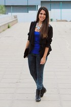 black el corte ingles boots - navy Zara jeans - black H&M jacket - black H&M bag