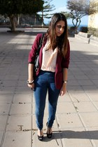 black Mulaya bag - navy pull&bear jeans - brick red Primark blazer