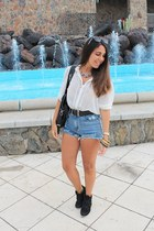 black Mulaya bag - sky blue Oasapcom shorts - white Primark blouse