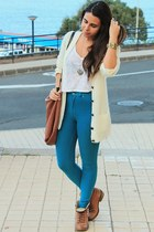 cream Primark cardigan - burnt orange Local store boots - blue H&M leggings