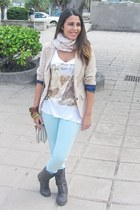 eggshell pull&bear blazer - dark brown Primark boots - white Bershka shirt