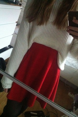 red H&M dress - white knitted JC jumper