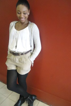 Forever 21 boots - Forever 21 shorts - Forever 21 necklace - papaya cardigan