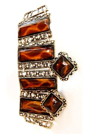 Vintage Tortoise Shell Bracelet & earrings