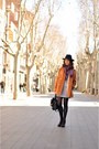 Black-striped-h-m-dress-tawny-mart-of-china-coat-black-zara-hat