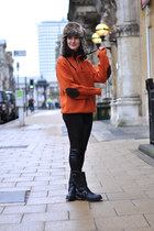 black leather biker sendra boots - brown fur H&M hat