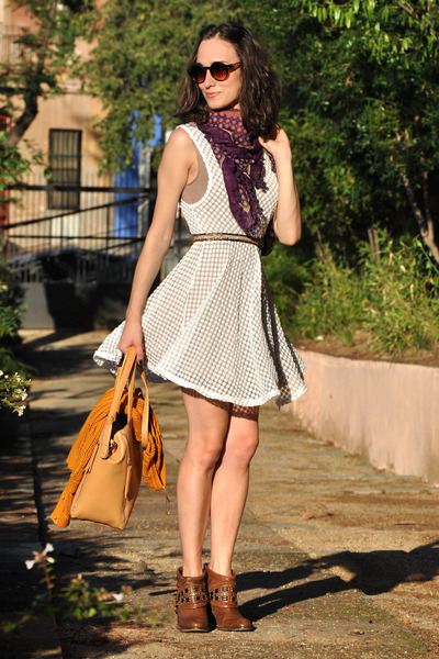 brown studded Zara boots - cream romwe dress - purple BLANCO scarf