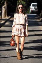 cream flowers Zara dress - tawny leather sendra boots