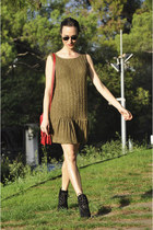 black Mango boots - light brown knitted romwe dress - ruby red Zara bag
