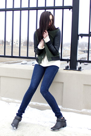 green Forever 21 jacket - black Forever 21 boots - navy Cheap Monday jeans
