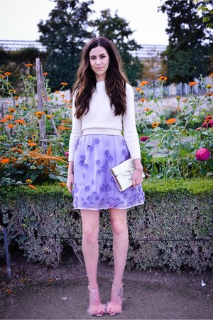 periwinkle asos dress - off white vintage sweater - eggshell kate spade bag