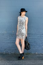 off white shift laser cut primp dress - black NYLA boots - black panama H&M hat