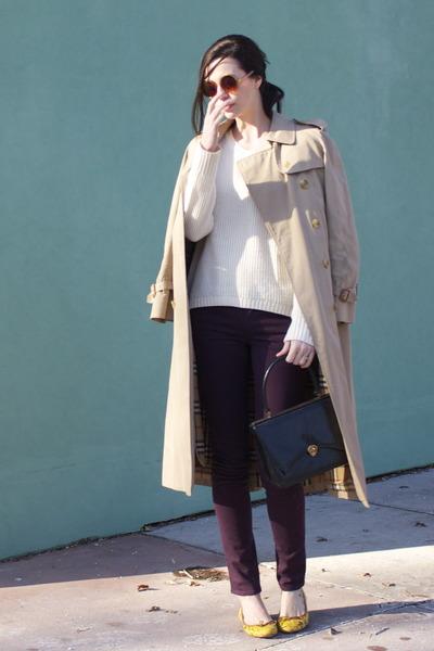 black vintage bag - beige Burberry coat - deep purple skinny Paige Denim jeans