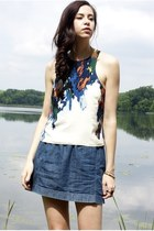 white Tibi top - blue denim mini Club Monaco skirt