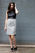 black leather sheath H&M dress - dark gray Hackwith Design House skirt
