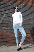 light blue boyfriend Gap jeans - black Spitfire sunglasses