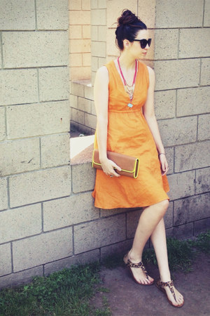 orange v-neck a-line Anthropologie dress - bronze neon clutch Aldo bag