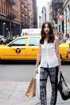 black BCBG pants - off white Theory shirt - black J Crew bag