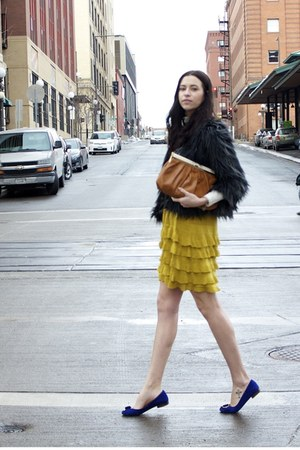 black feather Urban Outfitters coat - mustard Rachel by Rachel Roy dress