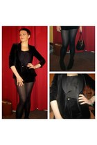 black new look boots - black Zara blazer - black Topshop bag