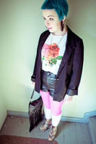 H&M blazer - H&M tights - GINA TRICOT bag - faux leather H&M shorts