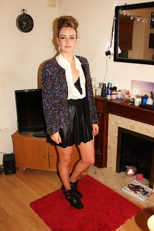 sequins Zara jacket - silk Urban Outfitters shirt - leather Zara skirt