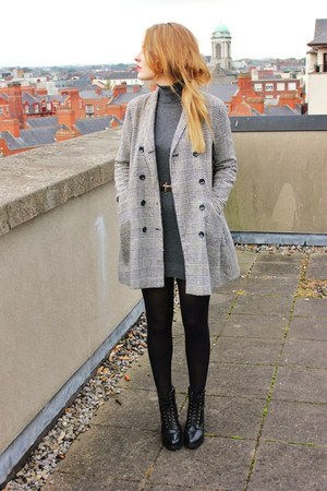 houndstooth Urban Outfitters coat - leather lace up River Island boots