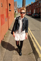 cropped leather Topshop jacket - chiffon Silence & Noise dress