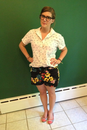 blue Plndr shorts - white vintage blouse - navy Warby Parker glasses