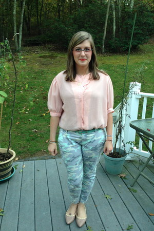 sky blue Gap pants - peach kensie glasses - aquamarine Jcrew belt