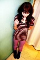 purple asos pants - gray Matalan boots - red scarf