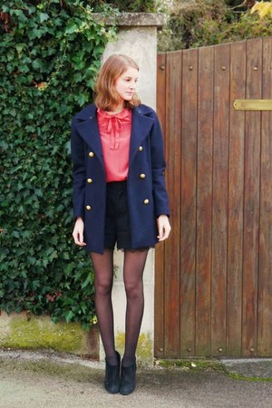 black Minelli boots - navy SANDRO coat - black lace-trimmed The Kooples shorts