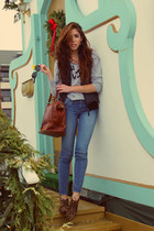 sky blue abercrombie and fitch jeans - crimson Anthropologie bag