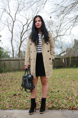 Gap coat - Zara shirt - banana republic skirt - Prada boots - balenciaga purse