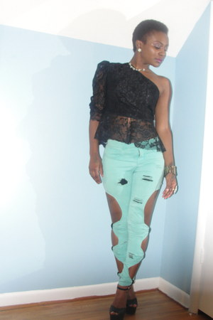 lace material Terial Lee Designs shirt - forever21 remix pants