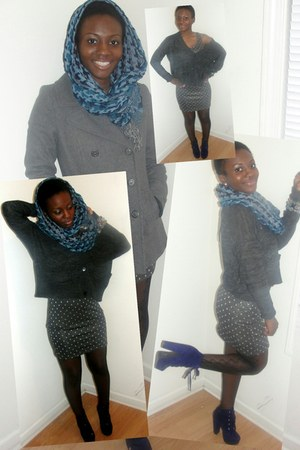 blue Beauty Store scarf - heather gray Wet Seal dress - silver Old Navy coat