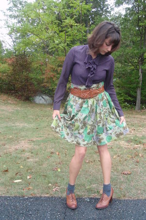 purple Gap blouse - green Anthropologie skirt - brown Urban Outfitters belt - br