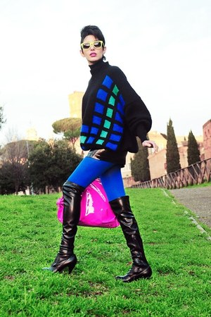 black Zara sweater - black Kallist boots - hot pink Bon Bon bag