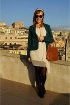 off white dress - turquoise blue Alcott jacket - camel vintage purse