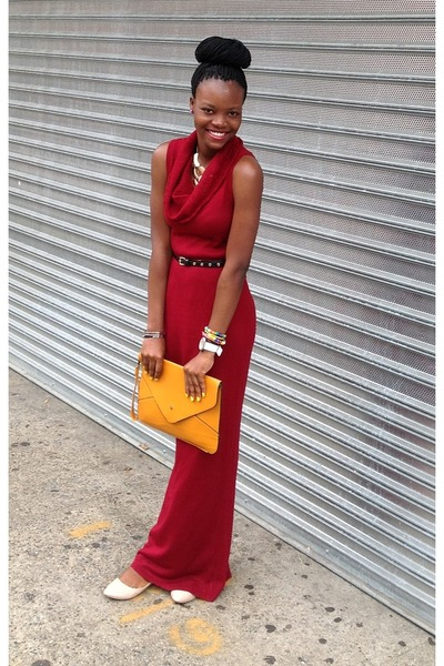 gold necklace - brick red dress - light orange orange purse