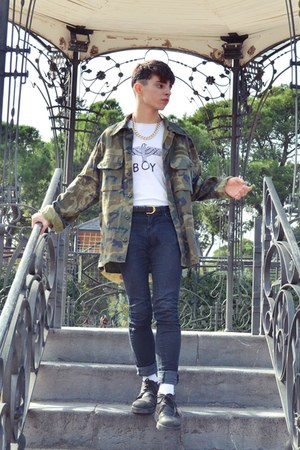 MILITAR shirt - cuero panama jacks boots - gold Grunge accessories
