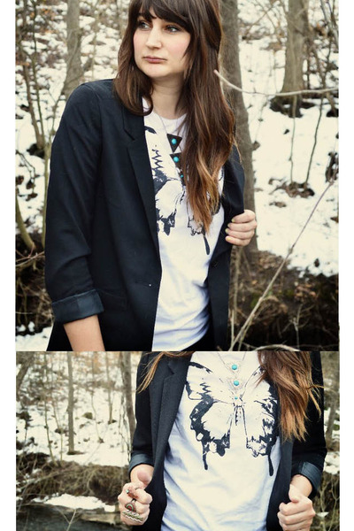 borrowed t-shirt - black H&M blazer - turquoise blue Forever 21 necklace