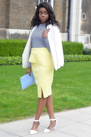 skirt - white asos blazer - black River Island top