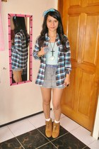 blue pieces blazer - tawny vintage boots - periwinkle Skirt skirt