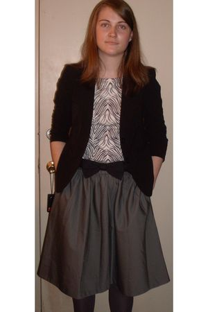 black George blazer - white thrifted top - gray Dockers skirt - gray tights - th