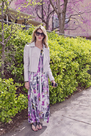 amethyst Sopranos dress - periwinkle OASAP jacket - black tory burch sandals