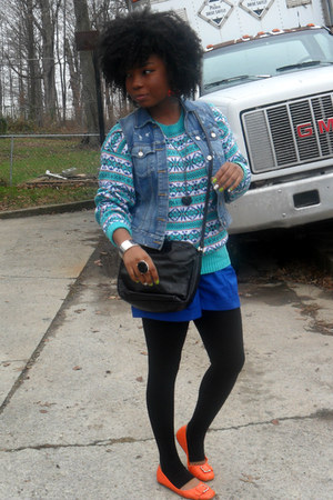 aquamarine American Eagle sweater - black bag - blue shorts