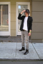 Helmut Lang blazer - Levis jeans - random brand from Bloomingdales shoes